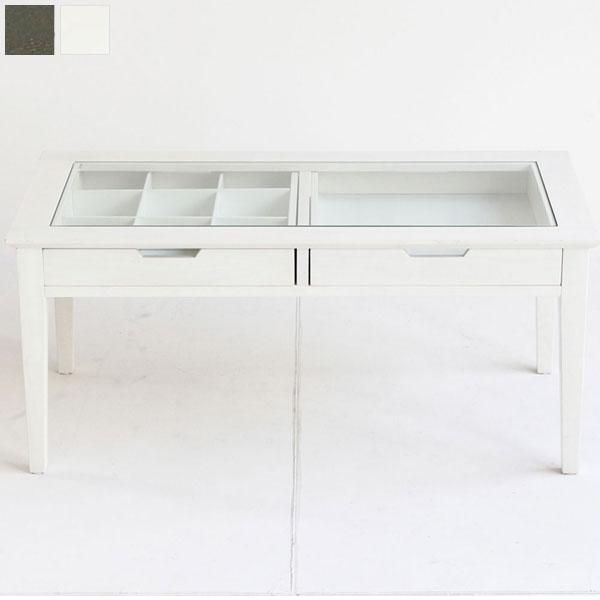 【送料無料】コレクションテーブル (WH/DGY) 両サイドから出し入れ可能な引出し2杯付きのテーブル。