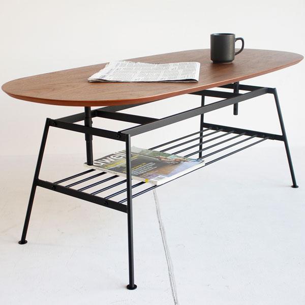 【送料無料】ローテーブル 幅90cm 棚付