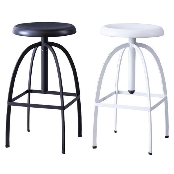 【送料無料】 カウンタースツール (BK/WH) スチール製の丸型スツール ホワイト・ブラックの2色 高さ66~84cmに高さ調節できる椅子 白黒でモノトーンインテリアにもピッタリ ハイスツール/バースツール/スツール/バーチェア