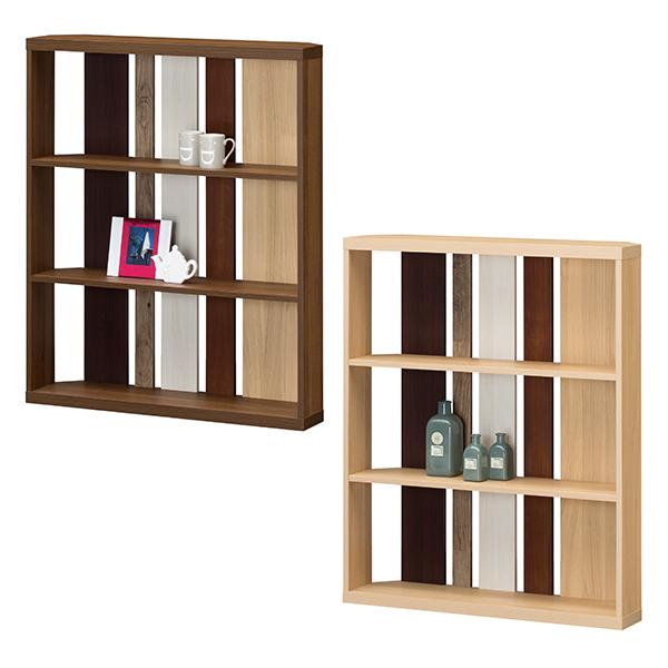 【送料無料】 90 ラック ロータイプ (NA/DK) ディスプレーラック ラック シェルフ 間仕切りとして空間を仕切れる収納棚 オープンラックで飾り棚としても 本棚 書棚 ナチュラル/ダークブラウンの2色 北欧/レトロ/シンプル