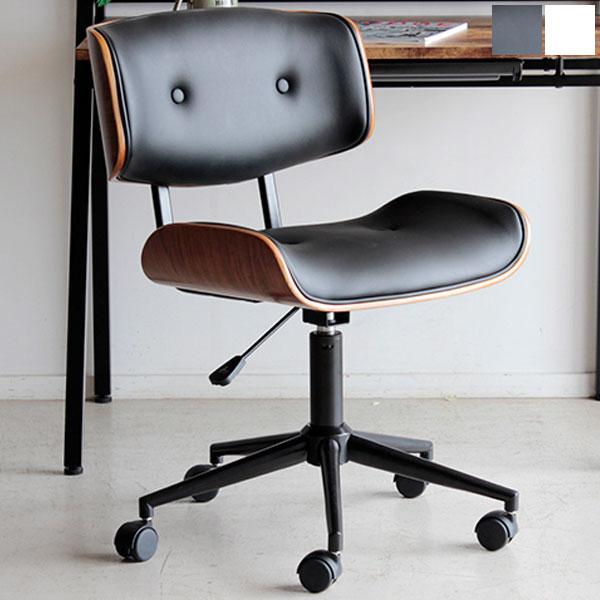 【送料無料】 オフィスチェア (BK/WH) 曲木×合成皮革のデザインのチェアー 便利な昇降・360度回転 キャスター付 デスクチェア シンプルで大人シックな椅子 ワークチェア レトロ/北欧/ミッドセンチュリーなお部屋にオススメのオ