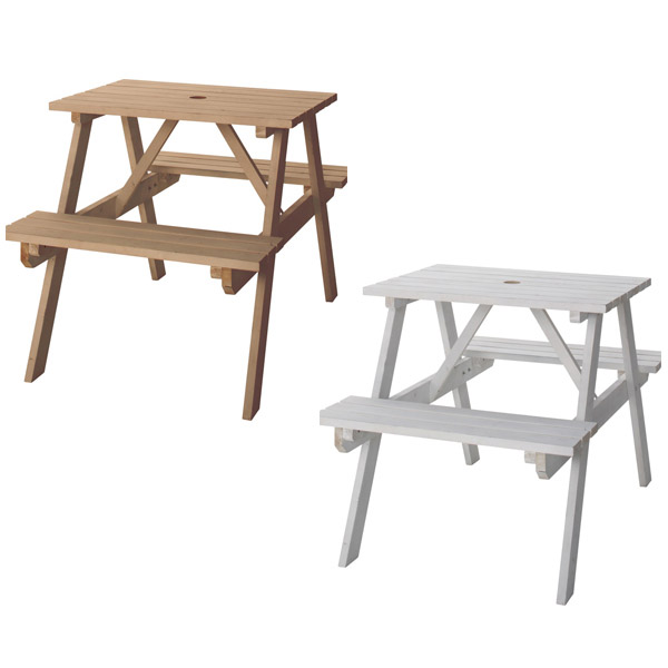 アウトドア・ガーデン テーブル&ベンチセット ホワイト 幅70cm 天然木杉材・ ライトブラウン 75 (LBR/WH) 奥行き1 庭やテラス、バルコニーに テーブルにはパラソル用の穴付き 【送料無料】 茶 白 テーブル付きのベンチ