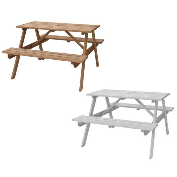 【送料無料】 120 テーブル&ベンチセット (LBR/WH) テーブルにはパラソル用の穴付き 天然木杉材・ 庭やテラス、バルコニーに テーブル付きのベンチ アウトドア・ガーデン ライトブラウン ホワイト 茶 白 幅120cm 奥行