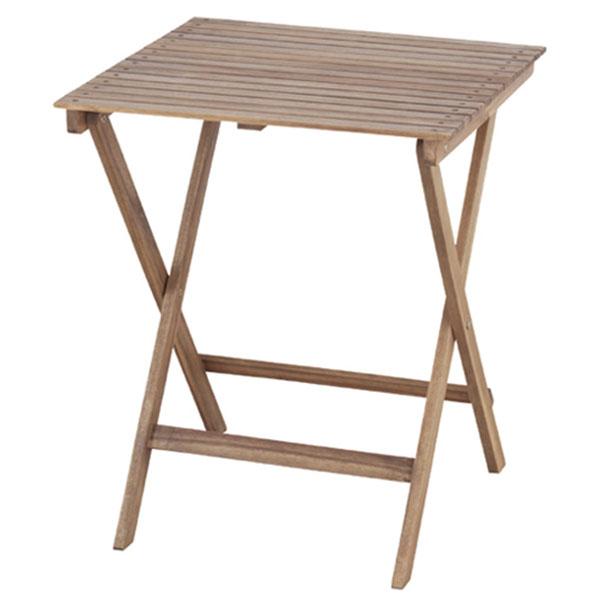 【送料無料】 60×60 テーブル 角型 正方形 折り畳み式 フォールディングテーブル ブラウン 天然木アカシア材・オイル仕上げ 半屋外対応 ガーデンテーブル 北欧/ナチュラル/シンプル/カントリー/カフェ風/おしゃれ 幅60cm