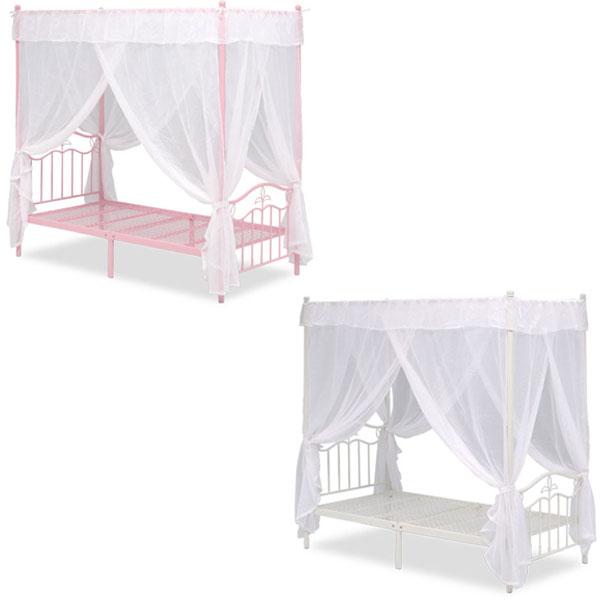 【送料無料】天蓋付きベッド (ピンク/ホワイト) 天蓋とカーテン付き シングルサイズ お姫様気分を味わえるプリンセスベッド 姫系/プリンセス/ガーリー/ロマンチック 高さはやや高めの201cm