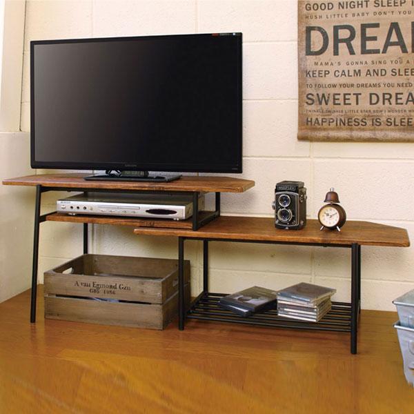 【送料無料】 幅80~131cm テレビボード 横にスライドできる伸長式TVボード L字型で角置きも可 左右組み替え可能 木製×スチールでおしゃれなデザイン 男前インテリア/ブルックリン/北欧/レトロ/ミッドセンチュリー/カフェ風