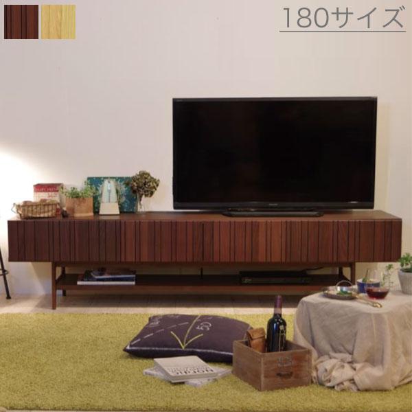 【送料無料】 180 ローボード (OK-NA/WN) テレビボード テレビ台 オークナチュラルとウォールナットの2色 前板のランダムなラインがスタイリッシュ&モダンでおしゃれ 配線逃し付きでスッキリ収納 安心の日本製・F☆☆☆☆