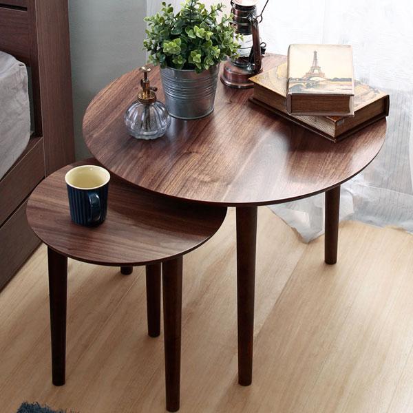 【10%OFF/送料無料】 ネストテーブル 大小の2サイズセット サイドテーブル リビングテーブル 入れ子式 2点セット 単品使いも◎ 木製 ナイトテーブルやソファテーブルに ウォールナットブラウン 円形 ラウンドテーブル 北欧/シンプル/モダン