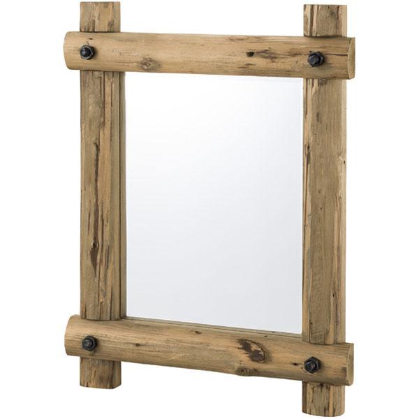 【送料無料】ミラー 鏡 かがみ 壁掛け 小型 ウォールミラー 幅59cm 高さ77cm 奥行き9cm ミラー面は幅39cm 高さ49cm 杉 飛散防止 アウトドア/ロッジ/コテージ/ヴィンテージ/ビンテージ/アンティーク 角型 木製 木フレーム