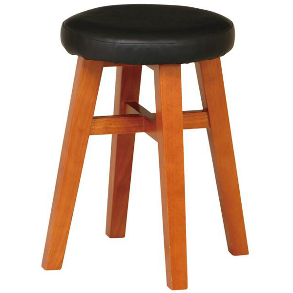 【送料無料】 スツール 円形 丸椅子 天然木×ブラック色の合皮がおしゃれでかっこいい補助椅子 幅39cm 高さ45cm 完成品 木製 レトロ/ミッドセンチュリー/男前/アメリカン