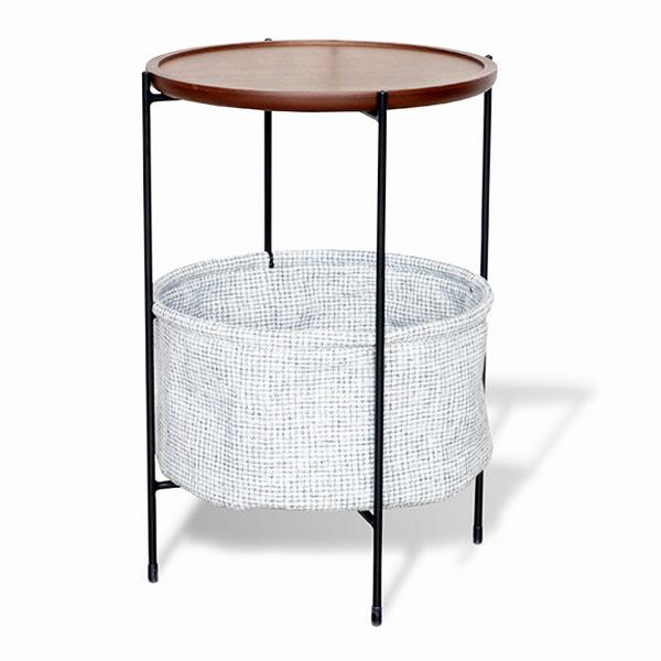 【送料無料】サイドテーブル ミニテーブル ナイトテーブル 丸テーブル 円形 丸型 バスケットは取外し可能 シンプル/モダン/スタイリッシュ/レトロ/ブルックリン/カフェ風 幅40cm 奥行40cm 高さ60cm 花台 スチール ウォールナット おしゃれ