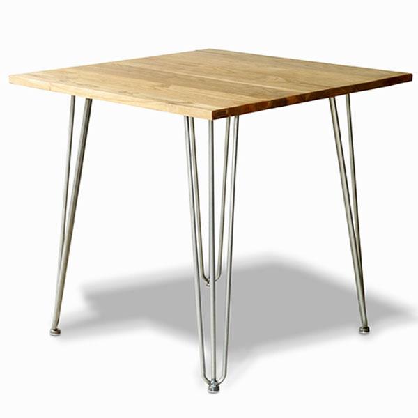 【送料無料】80 ダイニングテーブル エルム材×スチールがおしゃれなテーブル 正方形 2人用 ヴィンテージ/男前/ブルックリン/インダストリアル 食卓テーブル 食卓机 テーブル 幅80cm 奥行き80cm 高さ73cm 角型 真四角