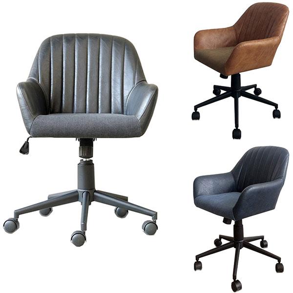 【送料無料】オフィスチェア ブラック/ブラウン/ネイビー モダンデザインのチェアー キャスター付 デスクチェア 椅子 ワークチェア レトロ/北欧/ミッドセンチュリー 幅60cm 奥行き65cm 高さ76.5~84.5cm 座面高44~52cm