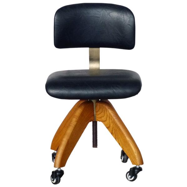 【送料無料】オフィスチェア PU×ブラウンアッシュがかっこいいデザインチェアー 回転 昇降 キャスター付 デスクチェア 椅子 ワークチェア レトロ/ミッドセンチュリー/男前/シンプル 幅54cm 奥行き54cm 高さ71~93cm 座面高45~61cm