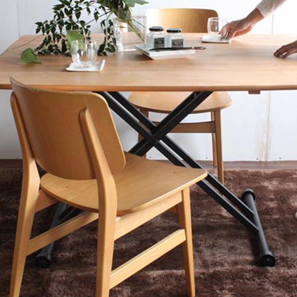 【オリジナル商品/送料無料】【広がる天板】120幅 昇降式テーブル ダイニング 勉強デスク 介護用 リフティングテーブル おしゃれ 天然木 ウッド調 簡易組立品 ソファー にも♪ アイアン脚 リフティングテーブル