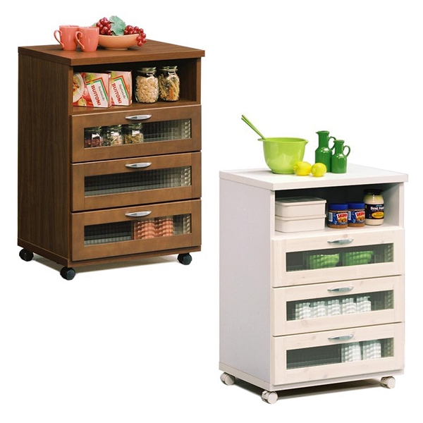 60キッチンカウンター (WH/BR) コンパクトサイズのキッチンカウンター。パインのやさしい風合いとガラス扉が特徴的。キャスター付きで移動も楽々。【日本製】【完成品】