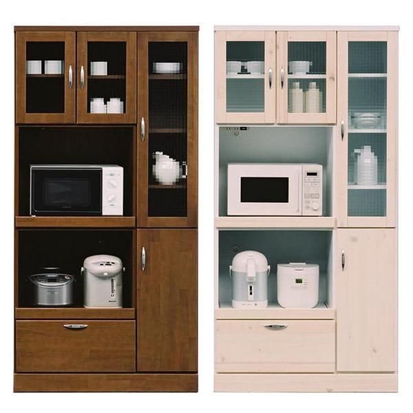 【送料無料】 90食器棚 (BR/WH) レンジも炊飯器もばっちり収納できる収納力抜群のキッチンボード。ファミリーの方に大人気のシリーズです。【大型配送無料】【開梱設置別途料金あり】