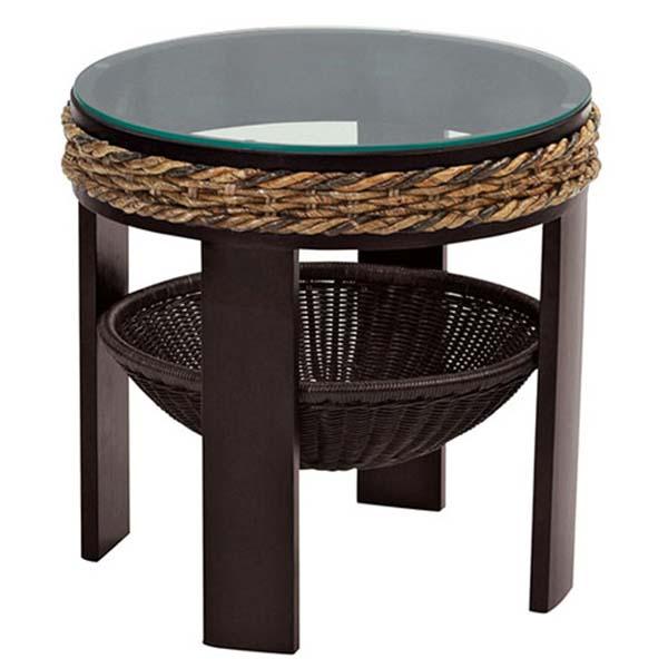 【送料無料】 テーブル サイドテーブル 丸テーブル ラタン 籐 天然木 ガラス φ44cm アジアン