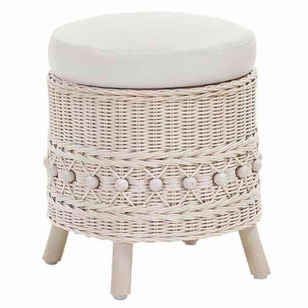 【送料無料】 ラタン スツール チェア 椅子 ホワイト 籐