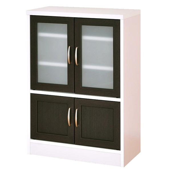 【送料無料】 食器棚 9060 ホワイトとブラウンのコントラストがスタイリッシュ 食器棚 開き戸 ガラス扉 すきま家具 スリム 台所 通販 家具 収納棚 食器 収納