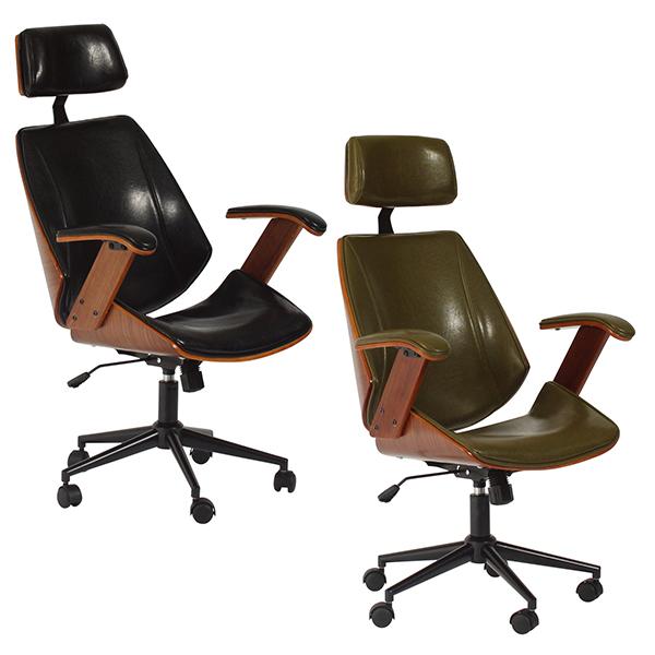 【送料無料】 ホームチェアー(GN/BK) グリーン ブラック 肘掛けあり リビングチェア 革張り 木目 スタイリッシュ 肘掛け キャスター キャスター付き パーソナルチェア 1人用 椅子 PU 1人掛け おしゃれ SOHO デスク