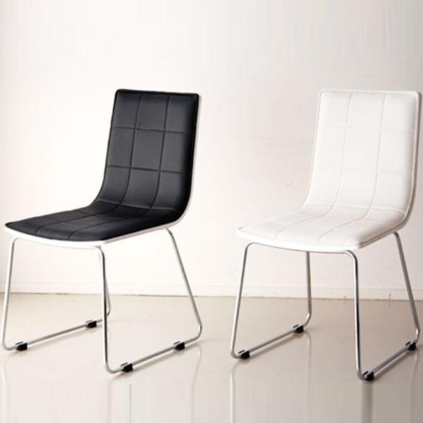 【送料無料】 チェア (BK/WH) 近未来系のおしゃれなデザインのチェア。シルバーのスチール脚に、ブラックとホワイトを組合せスタイリッシュでモダンな印象に。