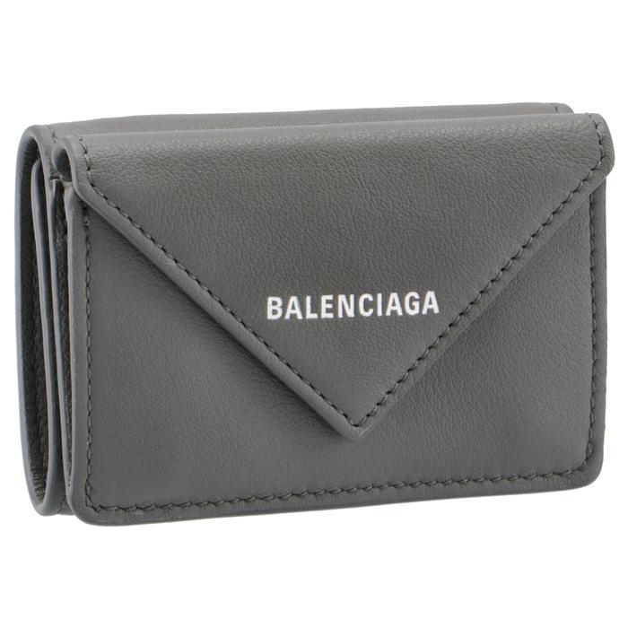 バレンシアガ ペーパーミニ PAPER ミニ財布 三つ折り財布 訳あり品送料無料 GRIS ACIER FONCE プレゼント ギフト 大幅にプライスダウン DLQ0N BALENCIAGA グレー 1215 391446 PAPIER 大人気