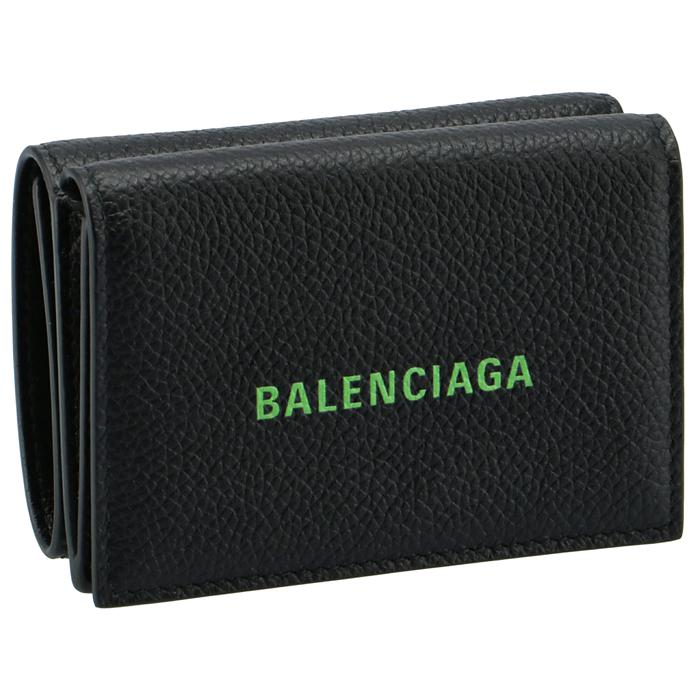 バレンシアガ 財布 再販ご予約限定送料無料 三つ折り ミニ財布 開催中 CASH MINI ロゴ ミニウォレット ブラック×グリーン FLUO 594312 BALENCIAGA BLACK 1IZI3 1063 2021年春夏新作 GREEN