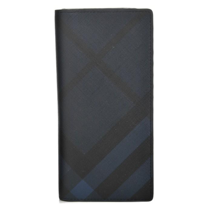『お値段見直し』 二つ折り長財布 【NAVY/BLACK】 『CAVENDISH』 BURBERRY/ 3996181 NAVY/ 【2018SS】 バーバリー ロンドンチェック BLACK/ m-wallet