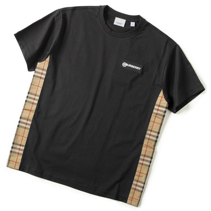 バーバリー Tシャツ スウェットシャツ ヴィンテージチェックパネル オーバーサイズ 祝日 5☆大好評 8024545 BURBERRY ブラック系 2020年秋冬新作