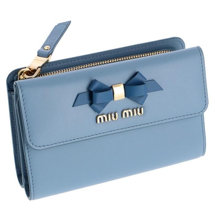 ミュウミュウ MIU MIU 2019年春夏新作 財布 三つ折り財布 りぼんモチーフ 折りたたみ財布 ミニ財布 ブルー系 5ML014 2B61 RFK