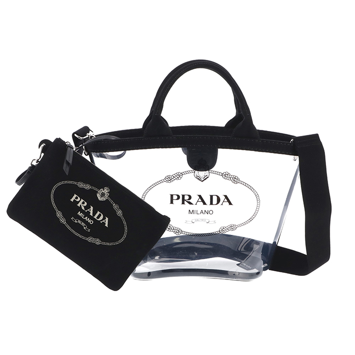 プラダ PRADA 2019年春夏新作 バッグ ショルダー プレックス PVC 2wayバッグ ロゴクリアショルダーバッグ ブラック 1BG187OOO 2BY5 002