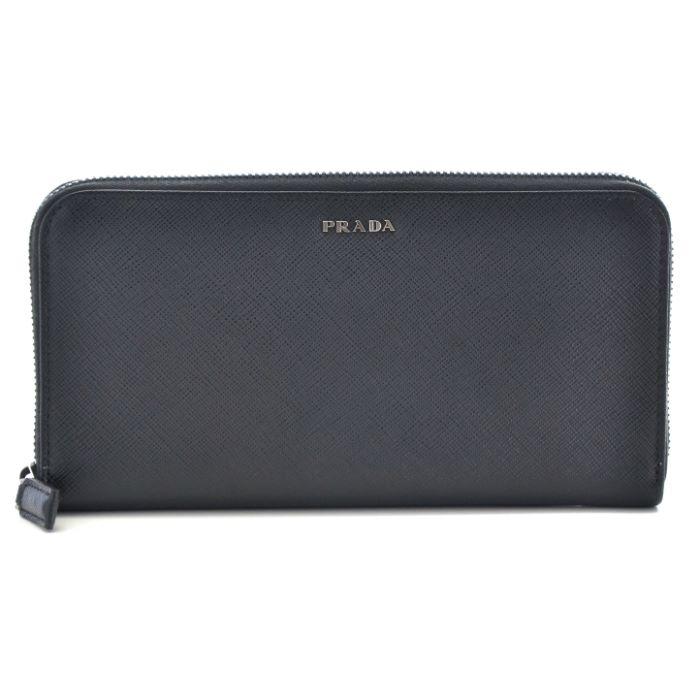 【FINAL SALE】プラダ PRADA 財布 型押しカーフスキン サフィアーノ メンズ ラウンドファスナー長財布 サイフ ブラック 2ML317 C5S G52