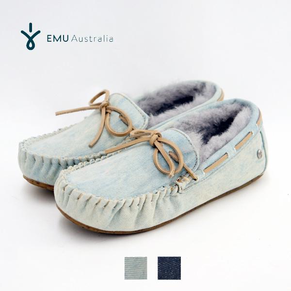 『10%OFFクーポン対象』 EMU エミュ Amity Denim アミティ デニム シープスキン 『W11352』 ムートン 内ボア デニム素材 モカシンシューズ