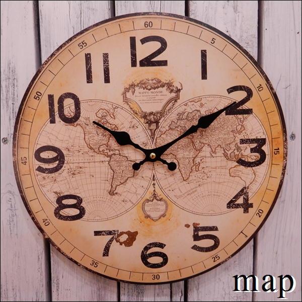 国際ブランド 癒し空間 お部屋にちょっと飾りたい アナログ時計で温もりを感じます 壁掛け時計 Mapデザイン 楽ギフ_メッセ入力 自分用にいかがですか SEAL限定商品 プレゼントやお祝い 直径34センチサイズアンティーク風仕上げでおしゃれ感を出したい方に