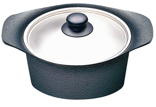 柳宗理 南部鉄器 IH対応 鉄鍋 ステンレス蓋付 深型 22cm