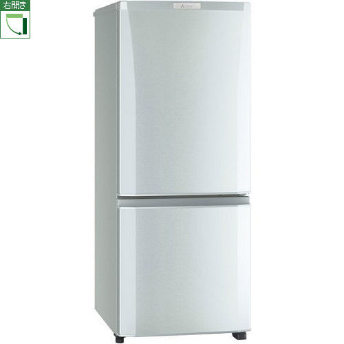 【長期保証付】三菱 MR-P15E-S(シャイニーシルバー) Pシリーズ 2ドア冷蔵庫 右開き 146L