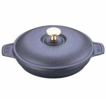 ストウブ ラウンドホットプレート IH対応 蓋付 両手鍋 20cm 40509-579(ブラック)