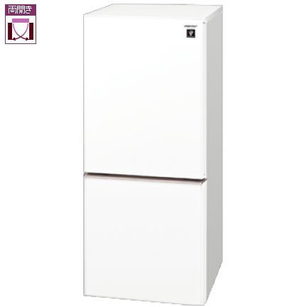 シャープ SHARP SJ-GD14E-W(クリアホワイト) 2ドア冷蔵庫 両開き 137L SJGD14EW