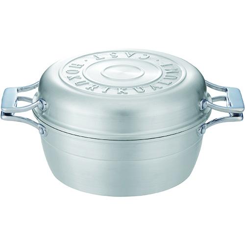 北陸アルミニウム HAMON IH対応 アルミ鋳造琺瑯鍋 2.6L シルバー A-2033 4977449018827