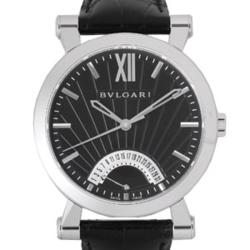 BVLGARI SB42BS-BK(ブラック) ブラック革ベルト メンズ