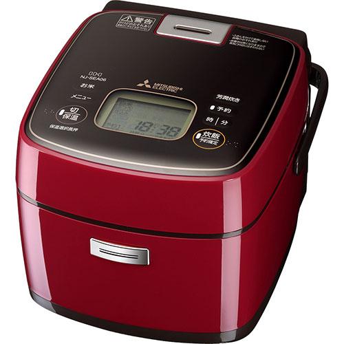 【長期保証付】三菱 NJ-SEA06-R(ミラノレッド) 備長炭 炭炊釜 ジャー炊飯器 3.5合