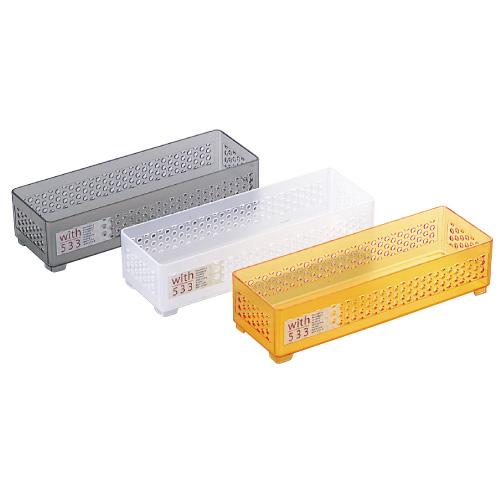 整理用品 文房具 事務用品 日用品 雑貨 家具 収納 インテリア小物 小物収納 ケース ボックス 収納用品 デスク収納 ウィズ533(細長) クリアグレー