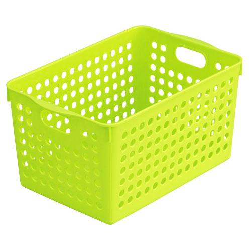 プラスチック製 かご バスケット 小物入れ インテリア小物 置物 インテリア  ストックバスケット ディープ グリーン