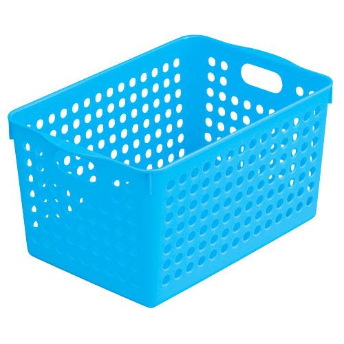 プラスチック製 かご バスケット 小物入れ インテリア小物 置物 インテリア  ストックバスケット ディープ ブルー