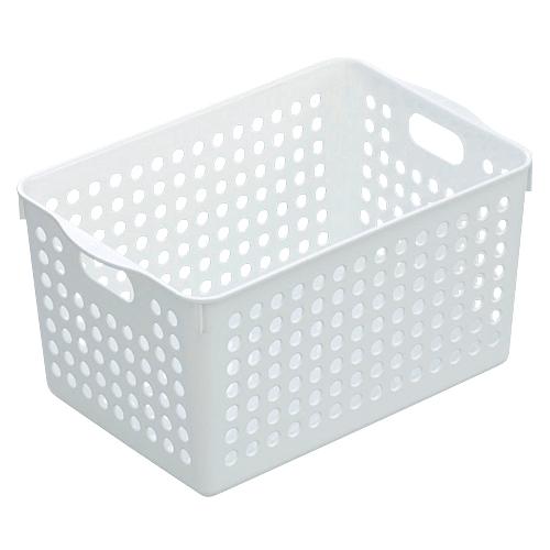 プラスチック製 かご バスケット 小物入れ インテリア小物 置物 インテリア  ストックバスケット ディープ ホワイト
