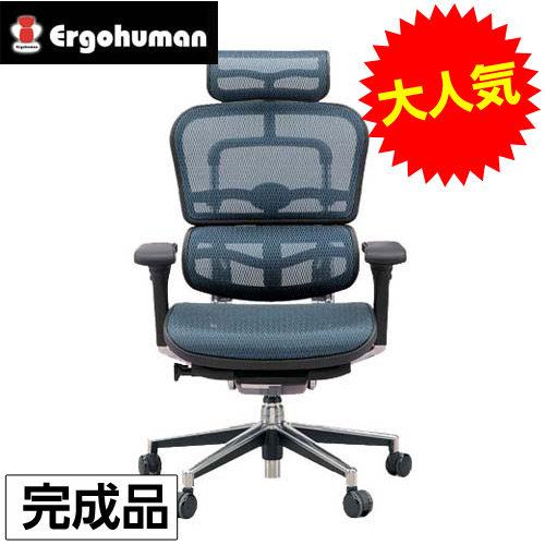 【完成品】オフィスチェア 「エルゴヒューマンベーシック」 ハイ・ブルー EH-HAM KM-15BL【代引不可】【送料無料(一部地域除く)】