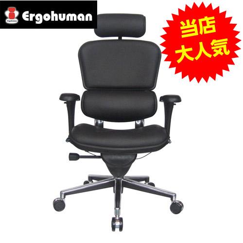 オフィスチェア 「エルゴヒューマンベーシック」 ハイ・革張りブラック EH-HAL BK 【代引不可】【送料無料(一部地域除く)】