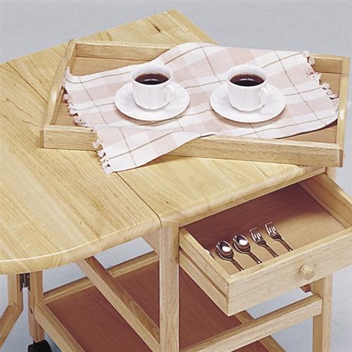 木製テーブル付きワゴン ナチュラル 【代引不可】【送料無料(一部地域除く)】