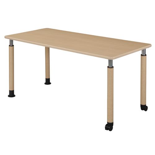 【お買得】昇降式テーブル 160×75cm(キャスター脚2本タイプ)メープル【代引不可】【送料無料(一部地域除く)】